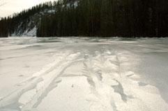 Вода под корочкой льда на реке Шумак